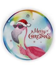 Flamingo Bubble Circle Ornament (Wood tile