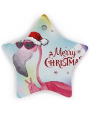 Flamingo Bubble Star Ornament (Wood) tile