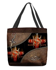 Jesus Saved My Life All-over Tote front