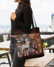Hunting Deer Country Girl Leather Pattern Print All-over Tote aos-all-over-tote-lifestyle-front-04
