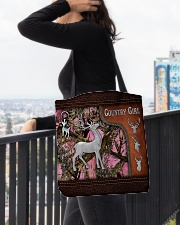 Hunting Deer Country Girl Leather Pattern Print All-over Tote aos-all-over-tote-lifestyle-front-05