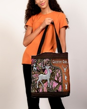 Hunting Deer Country Girl Leather Pattern Print All-over Tote aos-all-over-tote-lifestyle-front-06