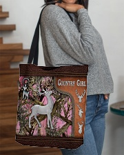 Hunting Deer Country Girl Leather Pattern Print All-over Tote aos-all-over-tote-lifestyle-front-09