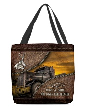 A Girl Who Loves Her Trucker All-over Tote front