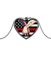 Firefighter I Choose You Necklace - D - Heart Metallic Heart Necklace front