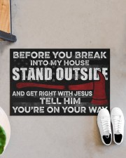 "Firefighter Jesus Before You Break Into My House Doormat 22.5"" x 15""  aos-doormat-22-5x15-lifestyle-front-07"
