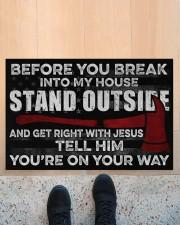 "Firefighter Jesus Before You Break Into My House Doormat 22.5"" x 15""  aos-doormat-22-5x15-lifestyle-front-10"