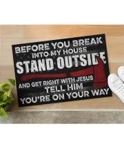 "Firefighter Jesus Before You Break Into My House Doormat 22.5"" x 15""  aos-doormat-22-5x15-lifestyle-front-11"