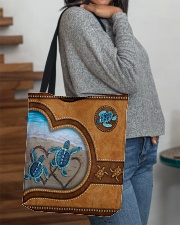 Turtle lover couple leather All-over Tote aos-all-over-tote-lifestyle-front-09