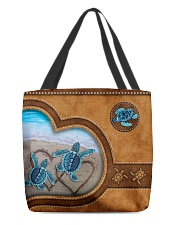 Turtle lover couple leather All-over Tote front