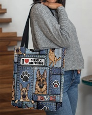 German Shepherd Jean Pattern All-Over Tote All-over Tote aos-all-over-tote-lifestyle-front-09