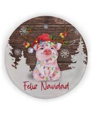 Pig - Merry Christmas Circle ornament - single (wood) thumbnail