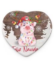 Pig - Merry Christmas Heart ornament - single (porcelain) thumbnail