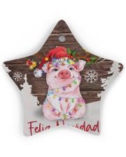 Pig - Merry Christmas Star ornament - single (wood) thumbnail
