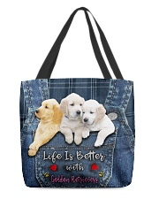 Golden Retriever Life Is Better All-over Tote front