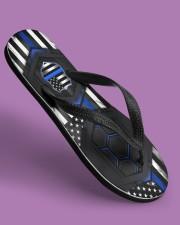 Police Blue Flag Pattern Flip Flops Women's Flip Flops aos-women-flip-flops-lifestyle-front-06