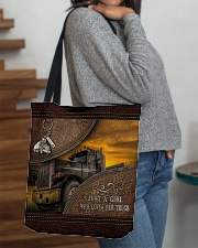 A Girl Who Loves Her Truck All-over Tote aos-all-over-tote-lifestyle-front-09