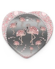 Pink Flamingos - Circle Ornament Heart ornament - single (porcelain) thumbnail
