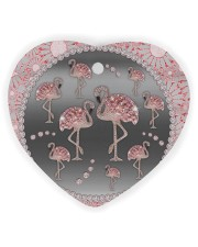 Pink Flamingos - Circle Ornament Heart ornament - single (wood) thumbnail