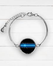 Blue Lives Matter Jewelry Metallic Circle Bracelet aos-bracelet-metal-front-lifestyle-2