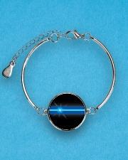 Blue Lives Matter Jewelry Metallic Circle Bracelet aos-bracelet-metal-front-lifestyle-3