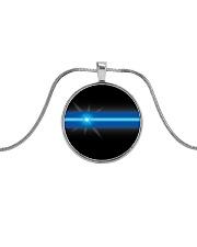 Blue Lives Matter Jewelry Metallic Circle Necklace thumbnail