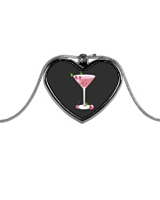 Pink Cherry Martini Metallic Heart Necklace thumbnail