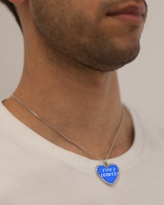 Type 2 Diabetic Jewelry Metallic Heart Necklace aos-necklace-heart-metallic-lifestyle-2