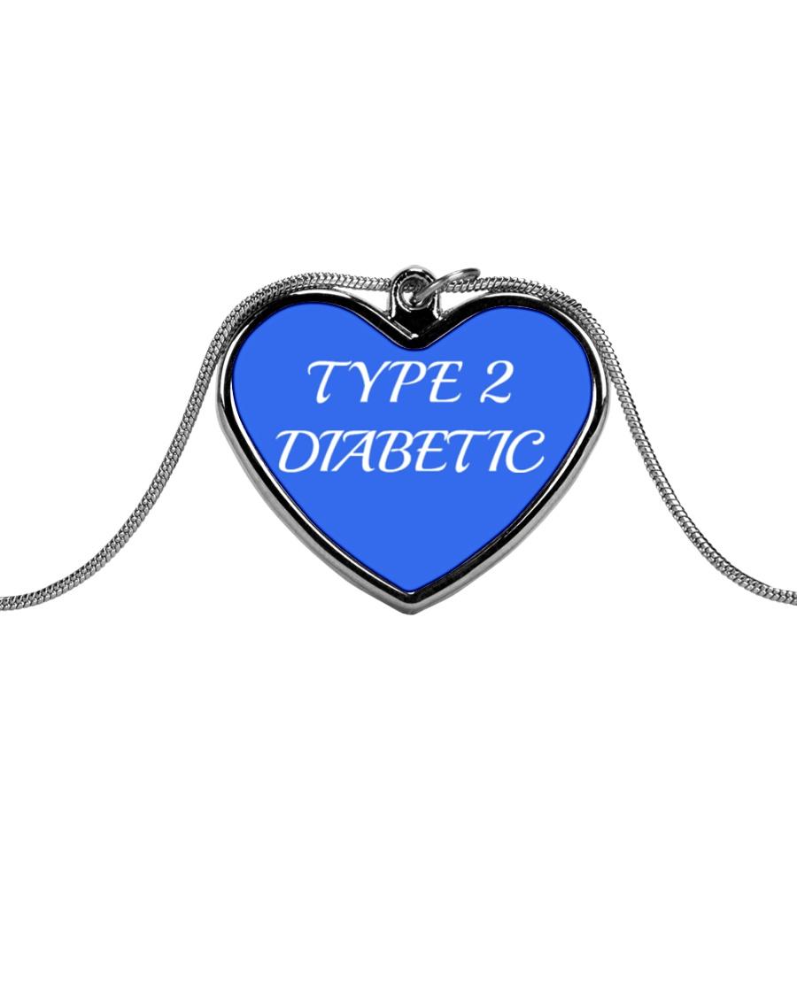 Type 2 Diabetic Jewelry Metallic Heart Necklace