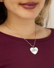 Type 2 Diabetic Jewelry Metallic Heart Necklace aos-necklace-heart-metallic-lifestyle-1