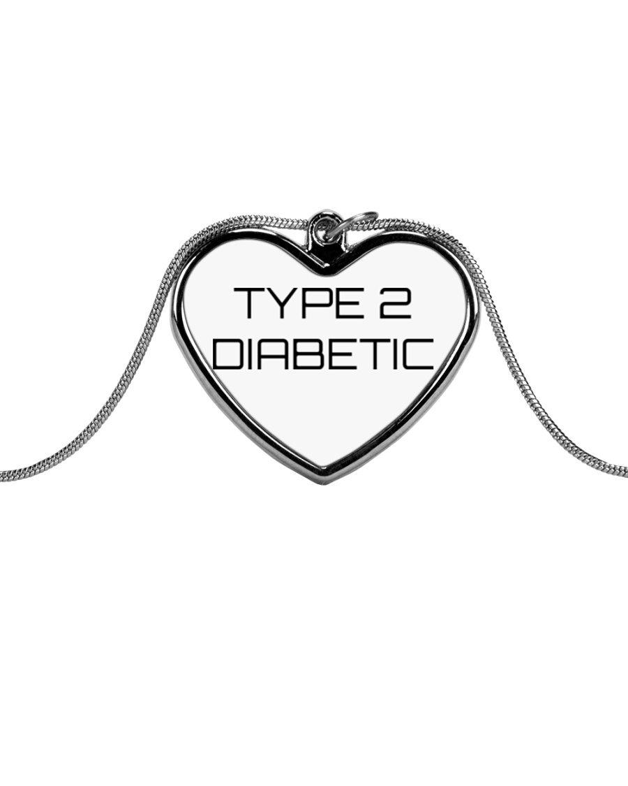 Type 2 Diabetic Jewelry Metallic Heart Necklace