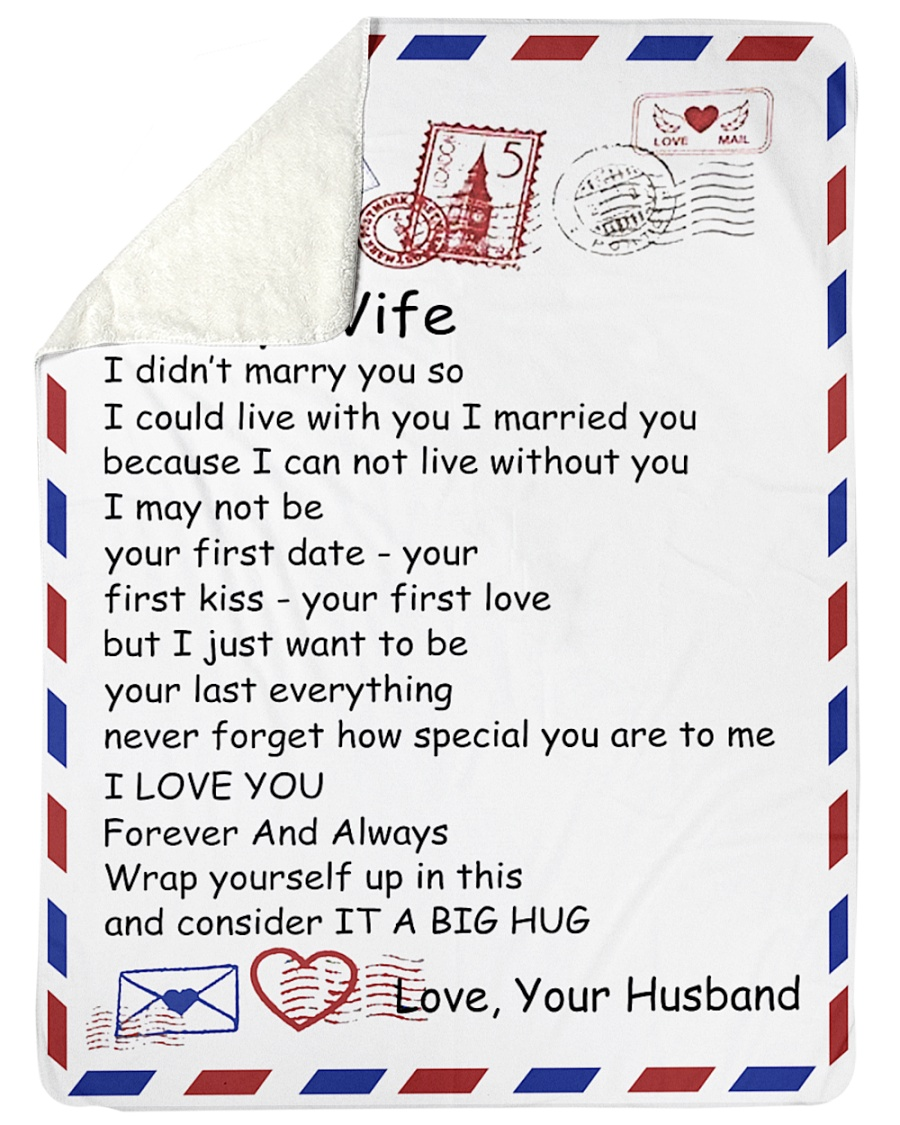 "TO MY WIFE Large Sherpa Fleece Blanket - 60"" x 80"""