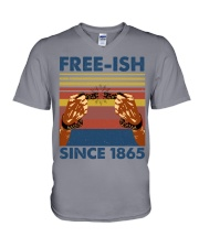 Justice for George Floyd Freeish since 1865 V-Neck T-Shirt tile