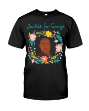 Justice for George Floyd Floral Wreath Classic T-Shirt front