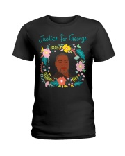 Justice for George Floyd Floral Wreath Ladies T-Shirt thumbnail