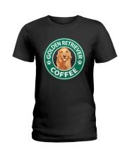 Golden Retriever Coffee Ladies T-Shirt thumbnail