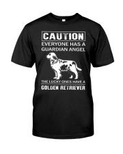 Golden Retriever Caution Classic T-Shirt front