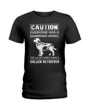 Golden Retriever Caution Ladies T-Shirt thumbnail