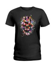Black Cat Skull Flower 0506 Ladies T-Shirt thumbnail