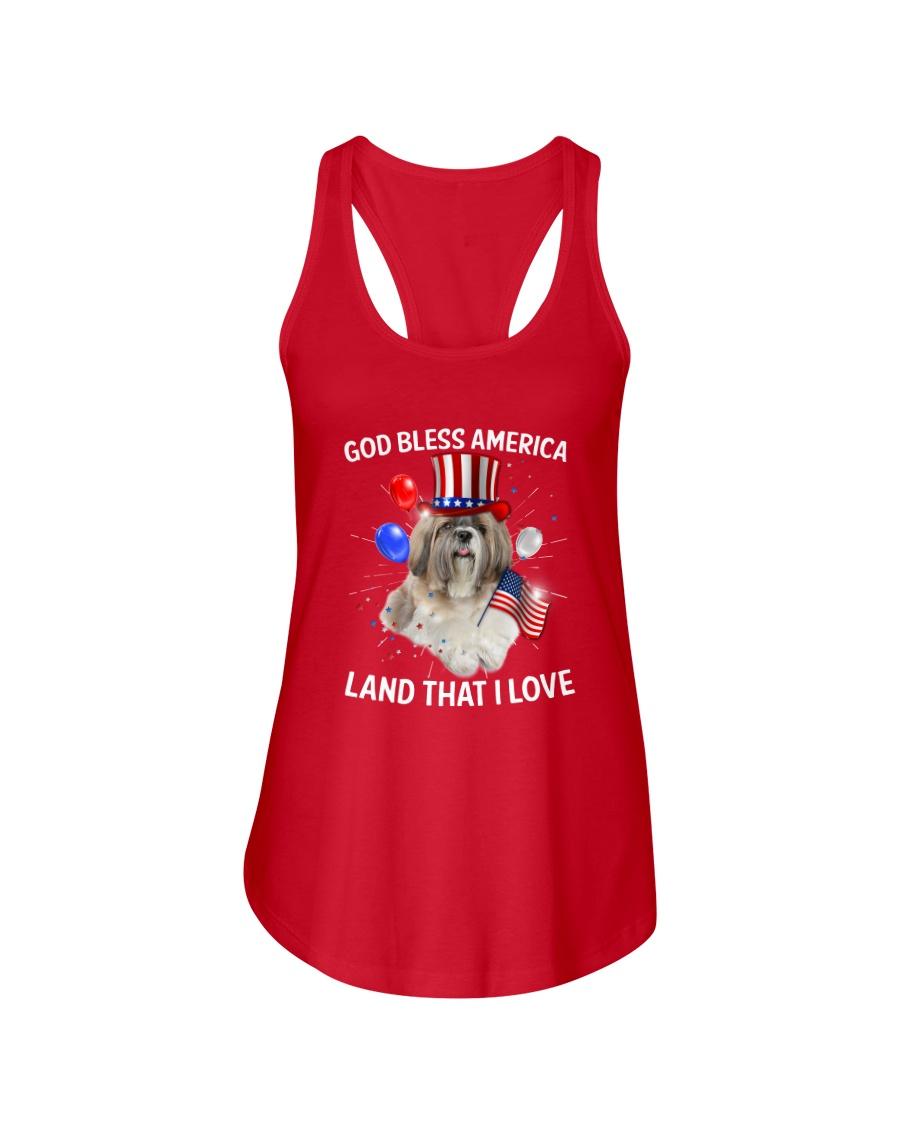 Shih Tzu I Love USA 0606 Ladies Flowy Tank
