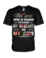 Not sure who is harder to raise my husband or my k V-Neck T-Shirt thumbnail