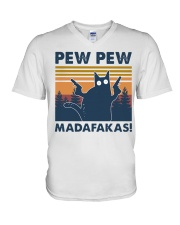 CAT PEW PEW MADAFAKAS VINTAGE SHIRT V-Neck T-Shirt tile