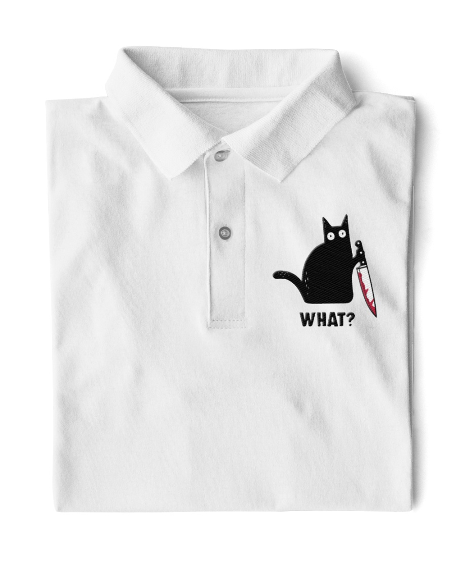 Cat What Embroidered Classic Polo