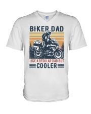 Biker Dad Like A Regular Dad But Cooler V-Neck T-Shirt tile