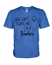 You can't scare me i'm a teacher V-Neck T-Shirt tile