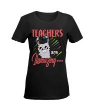 Teachers are llamazing Ladies T-Shirt women-premium-crewneck-shirt-front