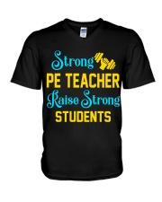 Strong Pe Teacher raise strong students V-Neck T-Shirt thumbnail