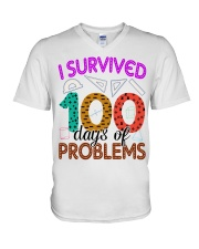 I SURVIVED 100 DAYS OF PROBLEMS V-Neck T-Shirt thumbnail