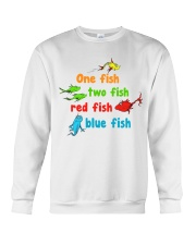 One fish two fish red fish blue fish Crewneck Sweatshirt tile