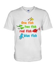 One fish two fish red fish blue fish V-Neck T-Shirt tile